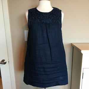 Willi Smith navy blue linen tunic/dress